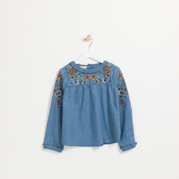 Girls denim long sleeve floral embroidered top