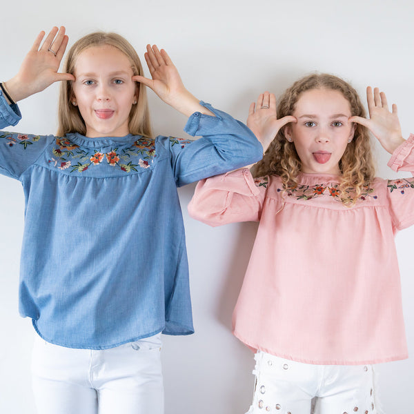 Girls denim long sleeve embroidered cotton blouse top