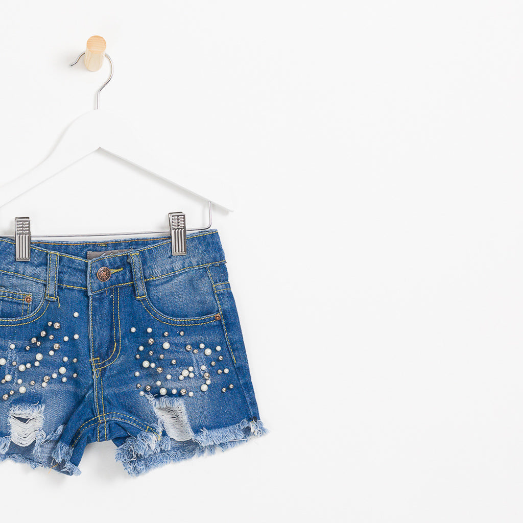Girls denim shorts pearls and distressed