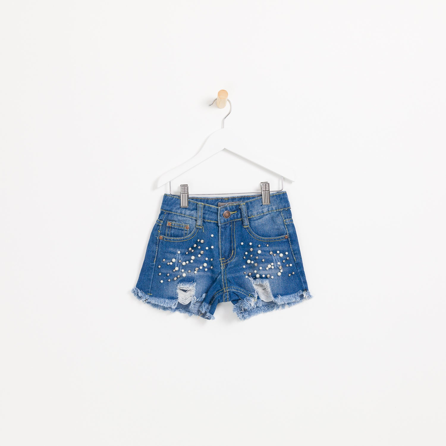 Children's girls raw denim shorts pearls and distressed