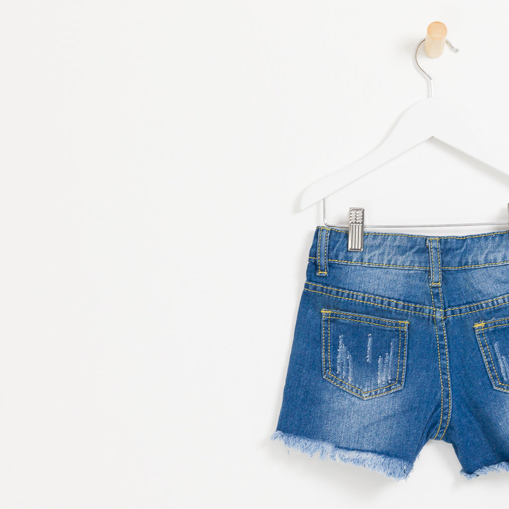 Girls denim summer shorts pearls and distressed