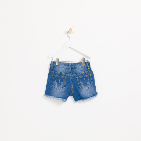 Kids girls denim shorts pearls and distressed