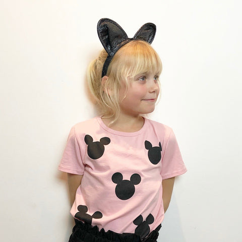 Girls disney pink short sleeve t-shirt black mickey ears trendy kids clothes