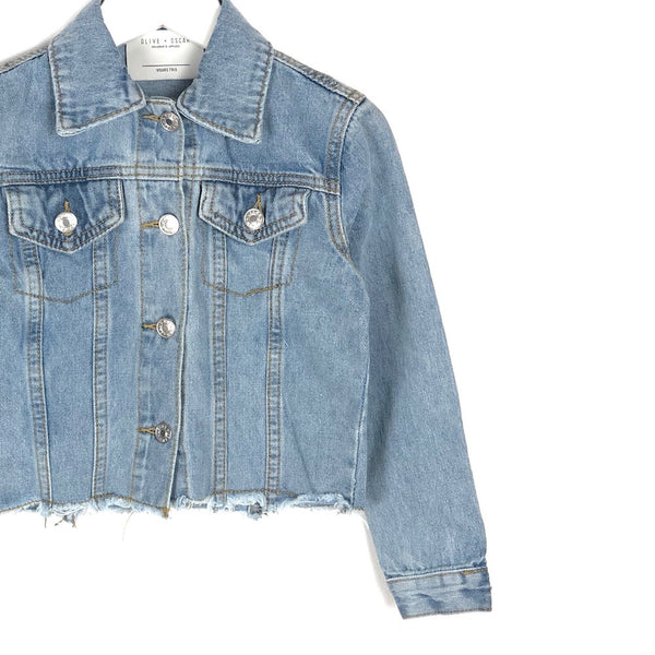 Girls light distressed denim jacket for kids cropped coat