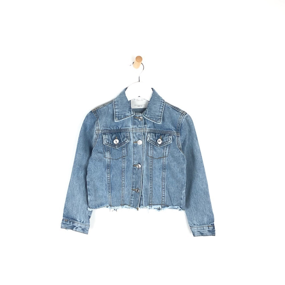 Girls light distressed denim jacket for kids cropped
