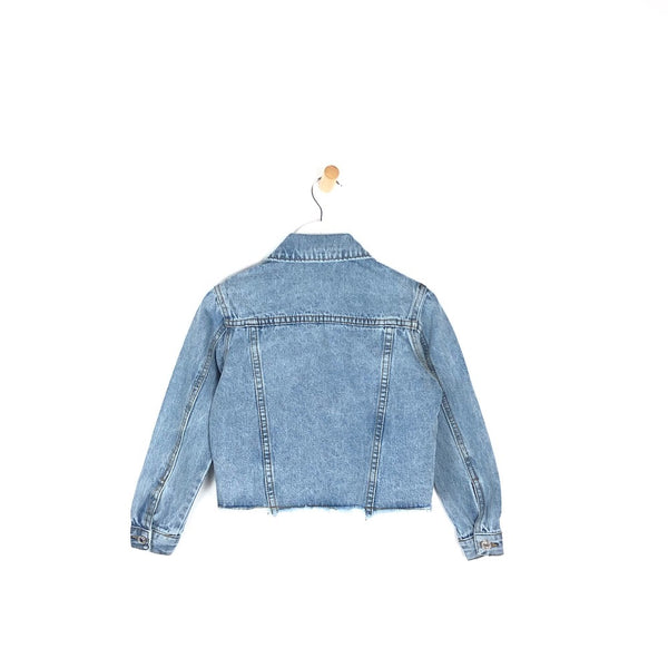 Girls light distressed denim jacket for kids collar and buttoned