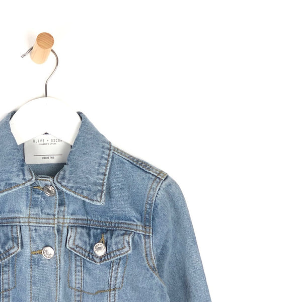 Girls light distressed denim summer jacket for kids