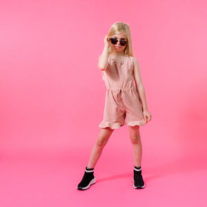 Girls dusty pink frill hem summer playsuit trendy cool kids clothes