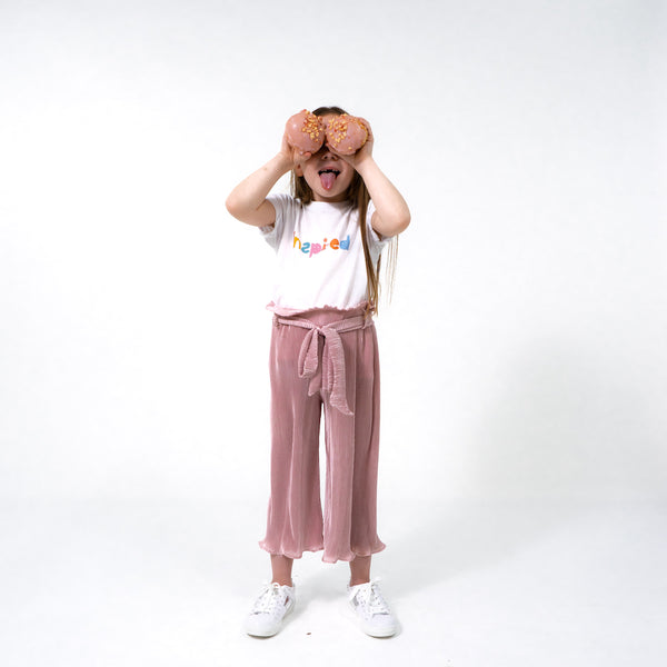 Girls dusty pink pleated trousers belted comfy easy to wear cool stylish trendy kids clothes