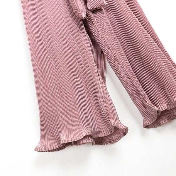 Girls dusty pink pleated trousers for kids wide leg belted elasticated waist