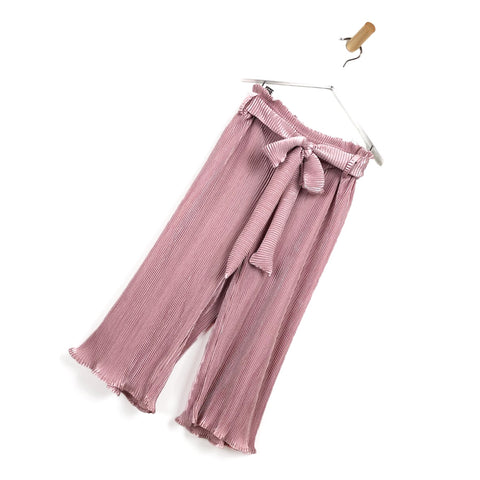 Girls dusty pink pleated trousers for kids wide leg comfy smart pants