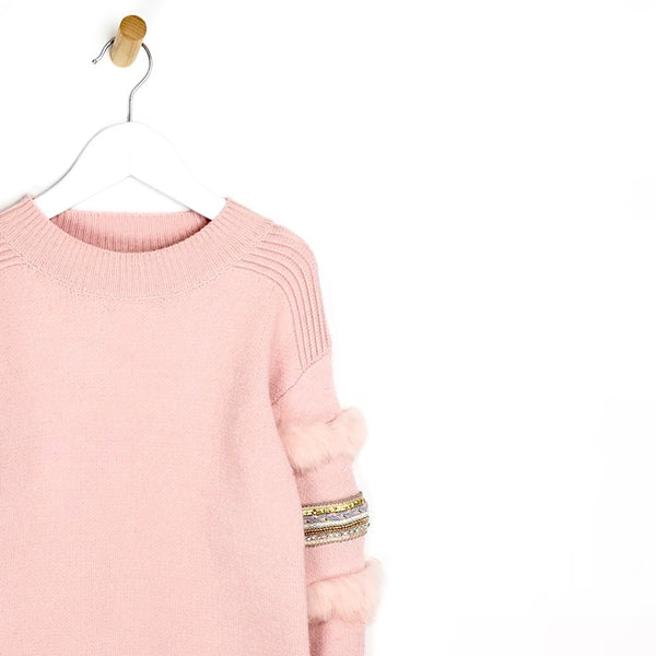Girls Embellished and Fur Arm Jumper Ultra Soft in Pink