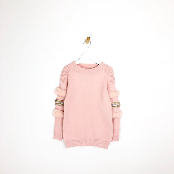 Girls Pink Embellished and Fur Arm Jumper Ultra Soft