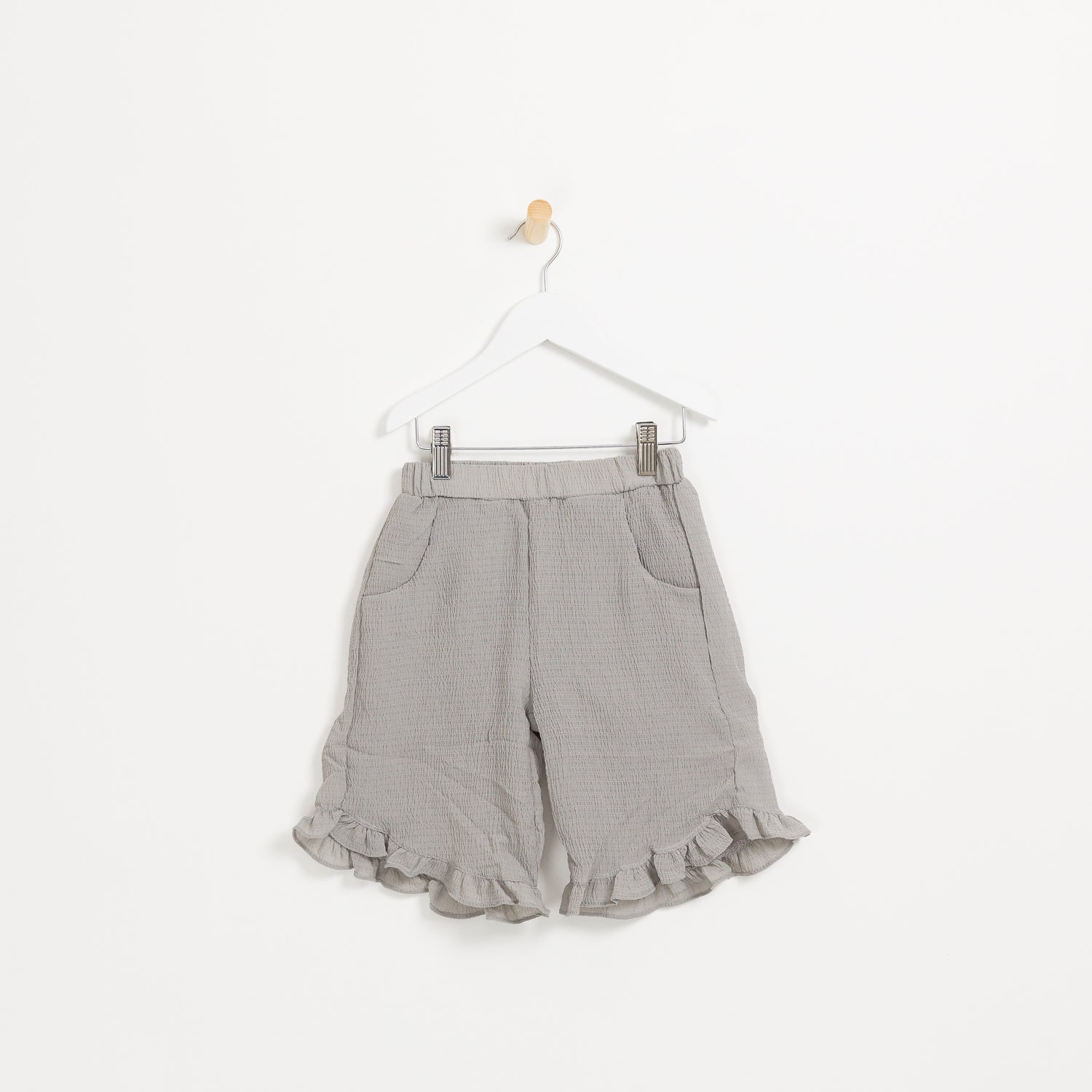 Girls grey crepe frill hem cropped trousers