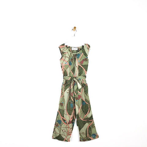 Girls gucci inspired tassel and chain print sage green belted summer jumpsuit for kids