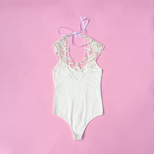 Girls kids cream lace summer bodysuit top