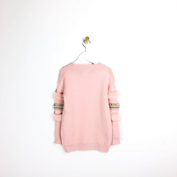 Girls Embellished and Fur Arm Pink Jumper Ultra Soft