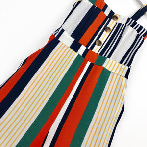Girls multi coloured red yellow white navy stripe jumpsuit  for kids