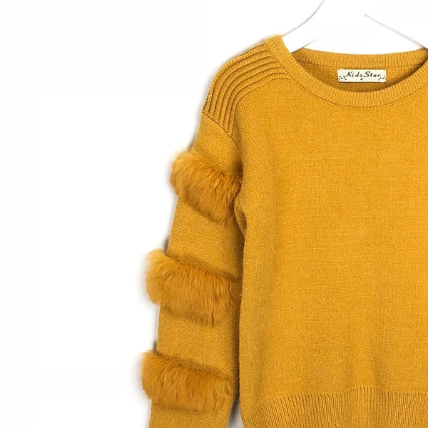 Kids Soft Fur Arm Mustard Winter Sweater For Girls