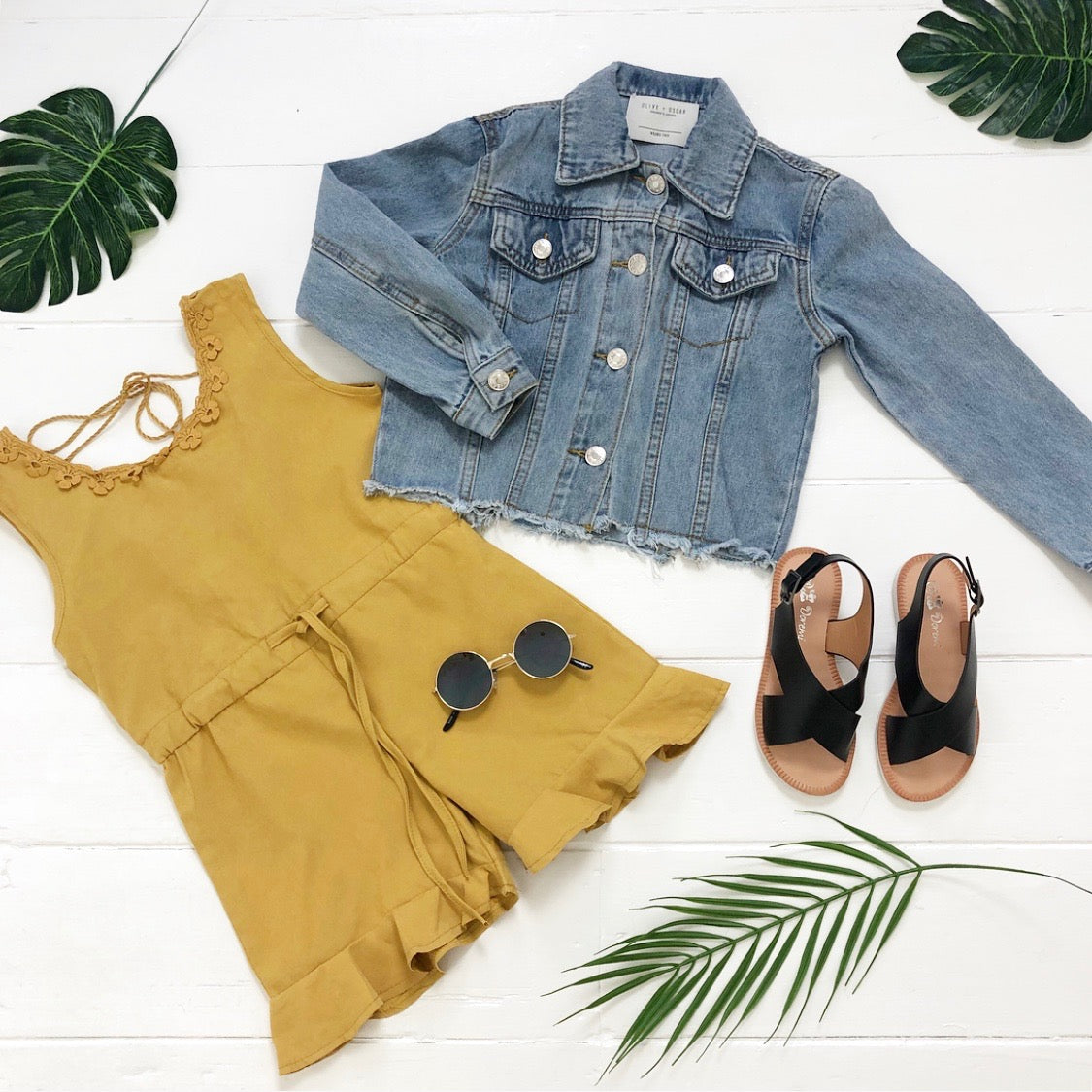 Girls mustard yellow summer playsuit holiday kids outfit