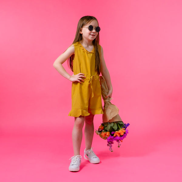 Girls mustard yellow frill hem summer playsuit trendy cool kids clothes