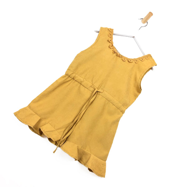 Girls mustard yellow summer holiday playsuit crochet flower hem frill shorts for kids