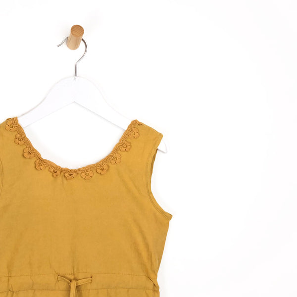Girls mustard yellow summer holiday playsuit crochet flower hem for kids