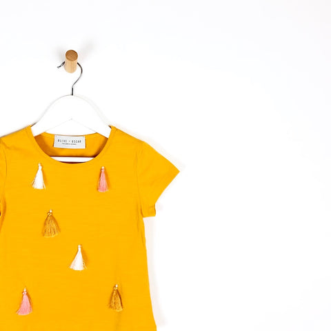 Girls mustard yellow tassel short sleeve t-shirt top for kids