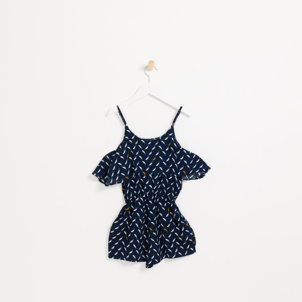 Girls navy leaf printed summer playsuit