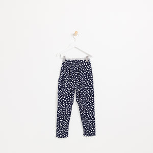 Children's girls navy white spot cotton trousers