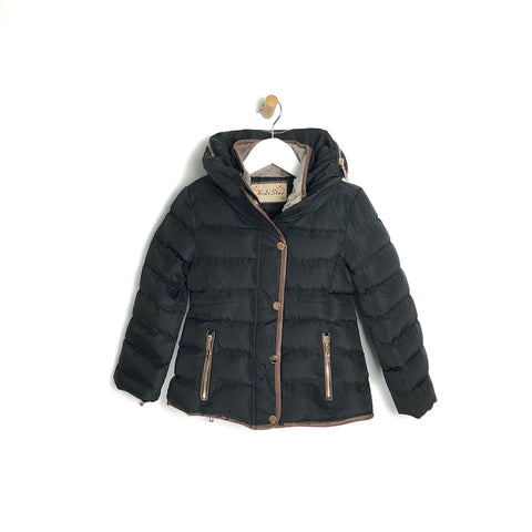 Girls Black Padded Winter Coat Faux Fur Lining
