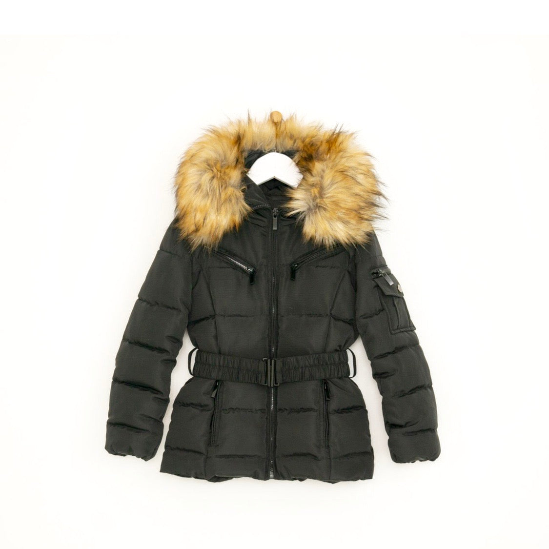 Girls belted luxury padded winter coat in black faux fur hood