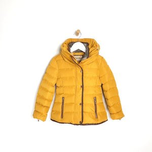 Girls Mustard Padded Winter Coat Faux Fur Lining