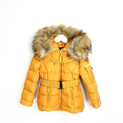 Girls padded winter mustard luxury faux fur hooded coat with belt