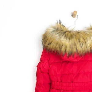 Girls red padded winter coat with belt luxury faux fur hood