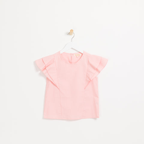Children's girls pale pink frill sleeveless summer blouse