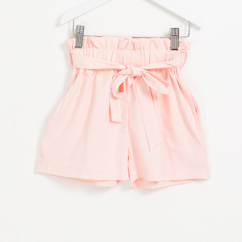 Kids Girls pink belted paper bag summer shorts