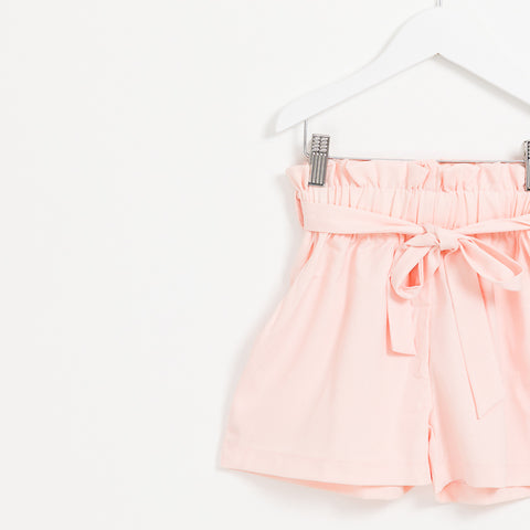 Girls pink belted paper bag summer shorts