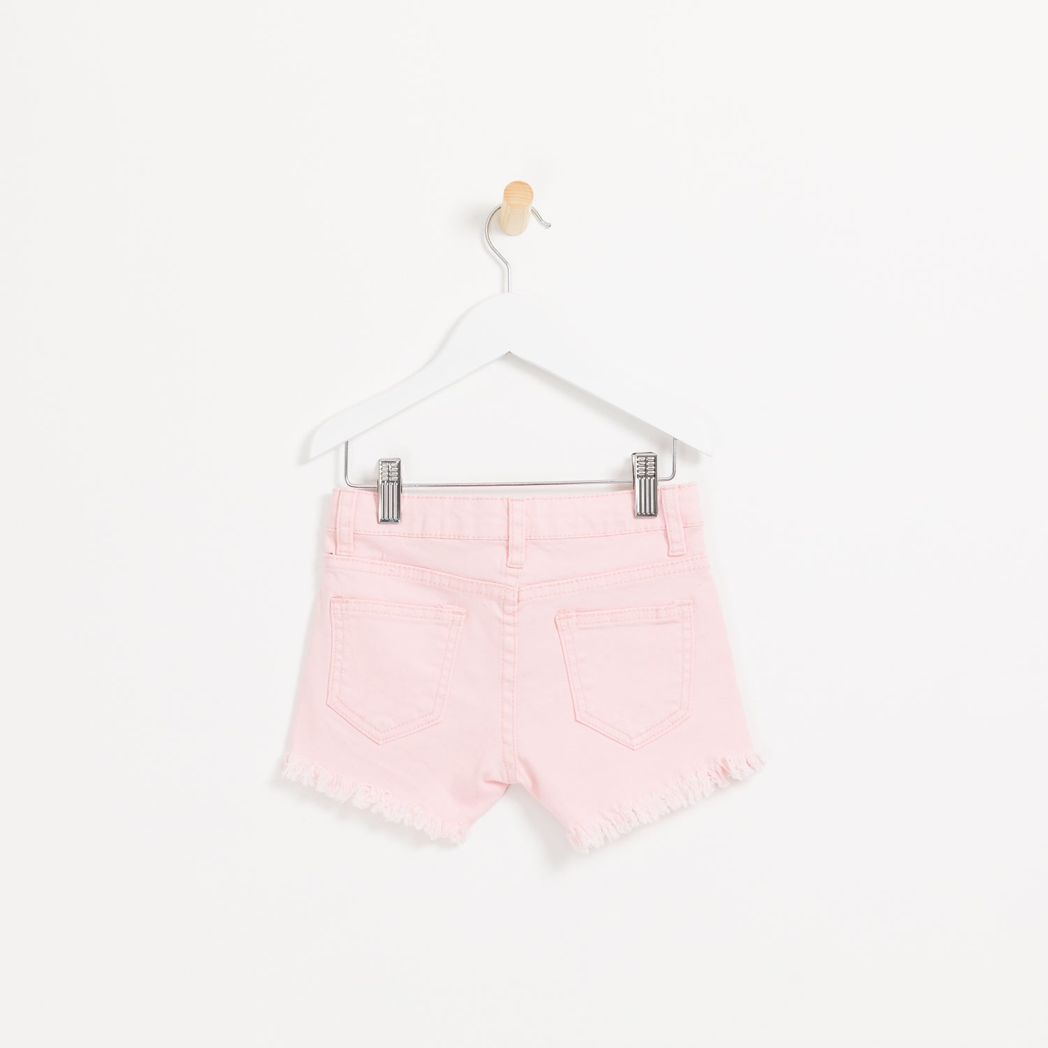 Kids girls pink denim shorts with hole detail frayed hem