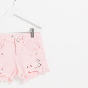Girls pink denim shorts with hole detail frayed hem