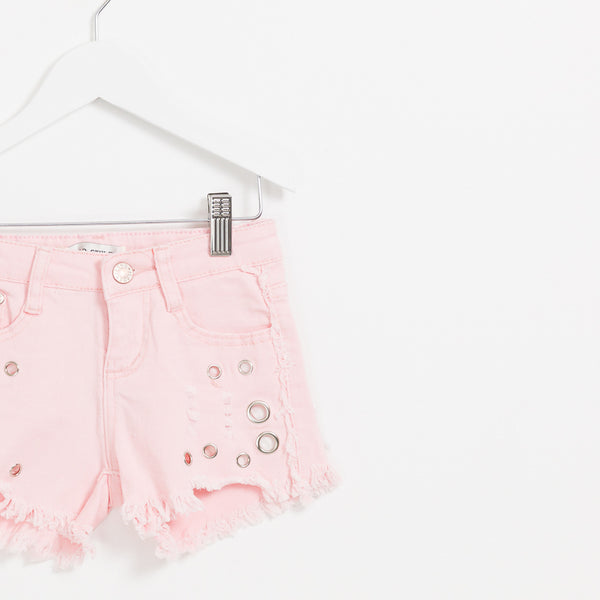 Girls pink denim shorts with hole distressed hem