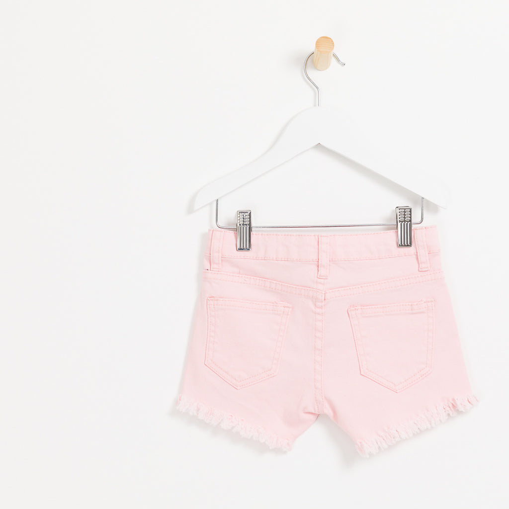 Girls pink denim shorts with hole detail frayed hem summer