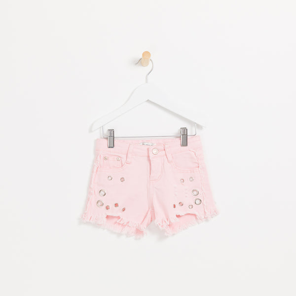 Children's girls pink denim shorts with hole detail frayed hem