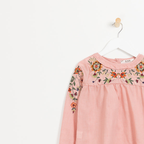 Girls Pink floral embroidered long sleeve top