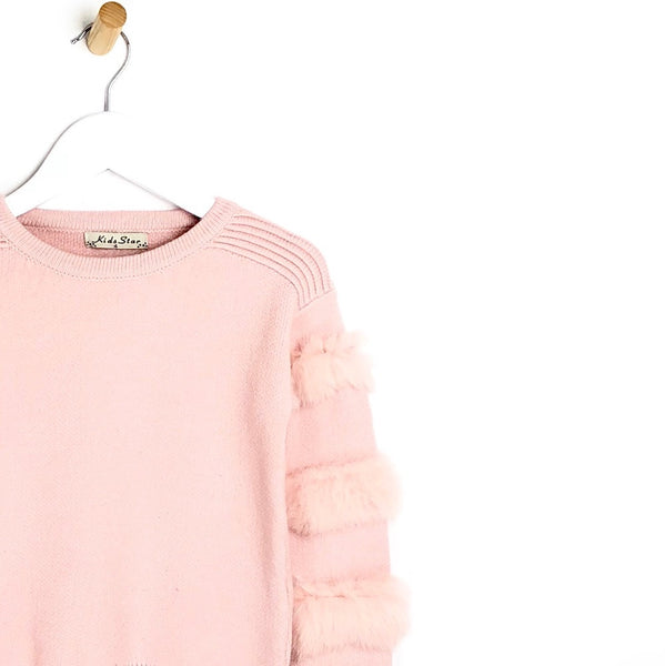 children's Girls pink fur arm supper soft winter jumper