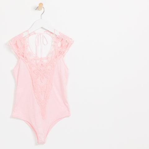 Girls pink lace embroidered bodysuit