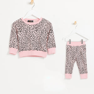 Girls pink leopard print legging and sweatshirt tracksuit