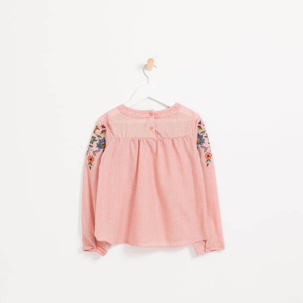 Kids girls pink long sleeve floral embroidered top.