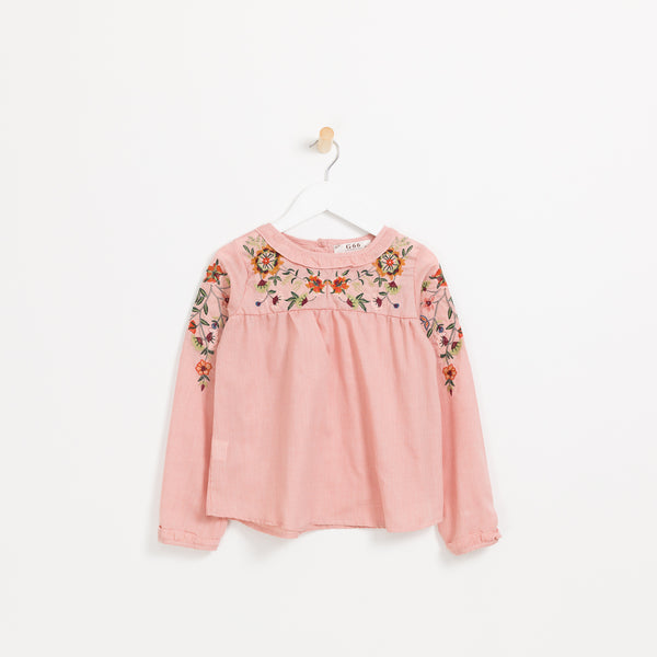 Children's girls pink long sleeve floral embroidered top