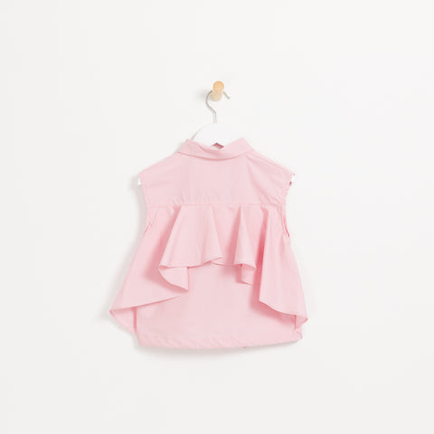 Girls pink sleeveless collared shirt with flower embellishment and frill layered back